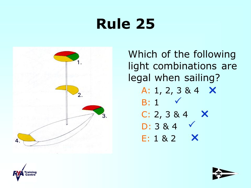 Rule 25 Which of the following light combinations are legal when sailing A: 1, 2, 3 & 4. B: 1. C: 2, 3 & 4.