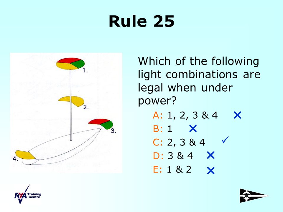 Rule 25 Which of the following light combinations are legal when under power A: 1, 2, 3 & 4. B: 1.