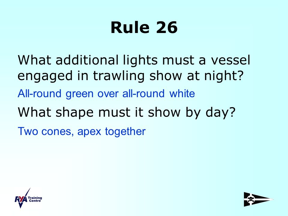 Rule 26 What additional lights must a vessel engaged in trawling show at night What shape must it show by day