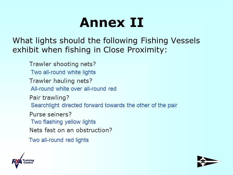 Annex II What lights should the following Fishing Vessels exhibit when fishing in Close Proximity: Trawler shooting nets