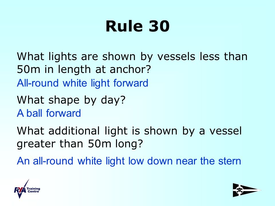 Rule 30 What lights are shown by vessels less than 50m in length at anchor What shape by day