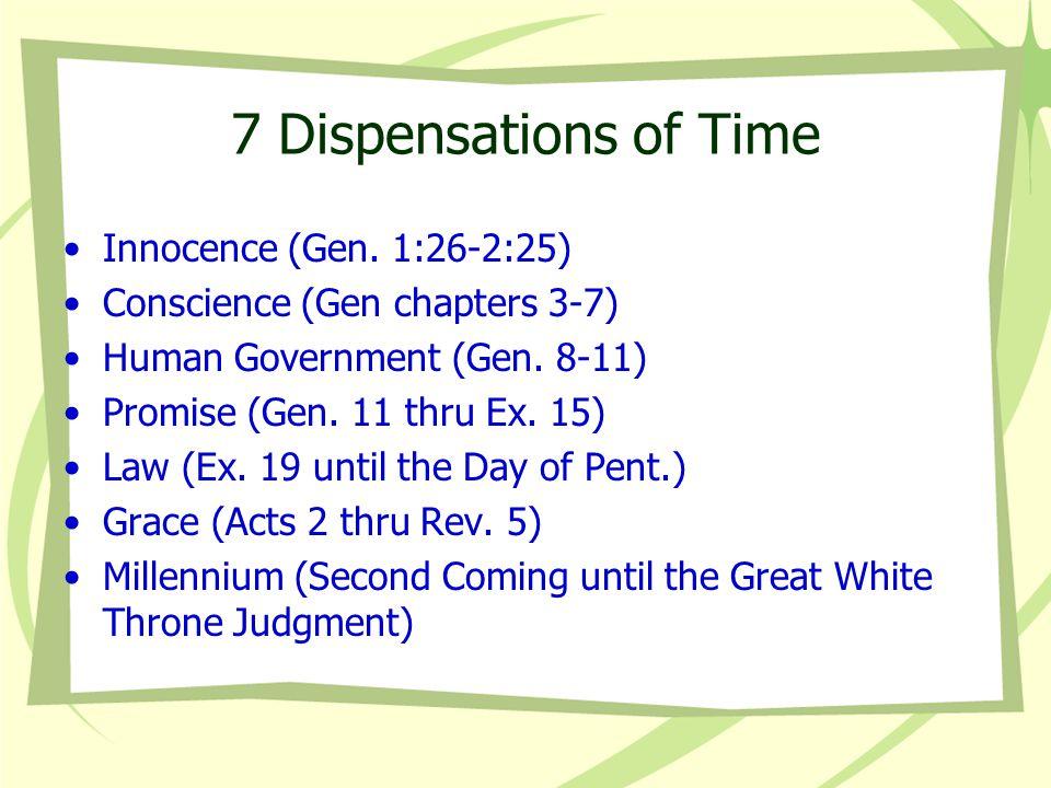 7 Dispensations of Time Innocence (Gen. 1:26-2:25)