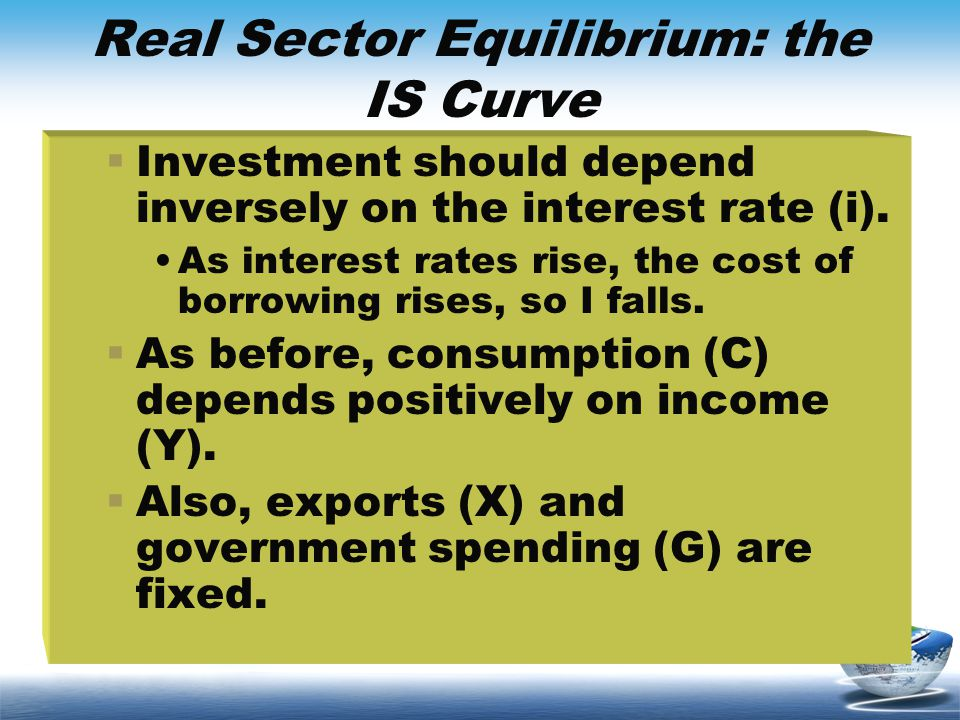 Real Sector Equilibrium: the IS Curve