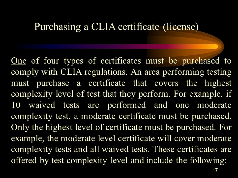 Purchasing a CLIA certificate (license)