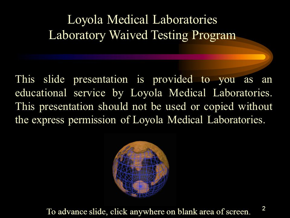 Loyola Medical Laboratories Laboratory Waived Testing Program