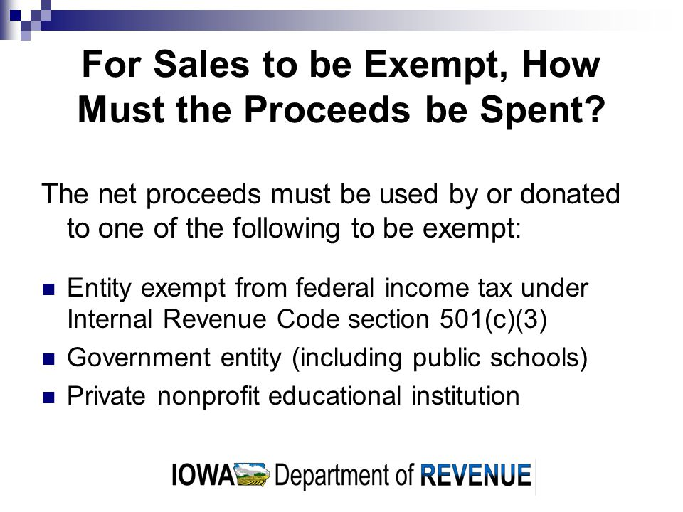 For Sales to be Exempt, How Must the Proceeds be Spent