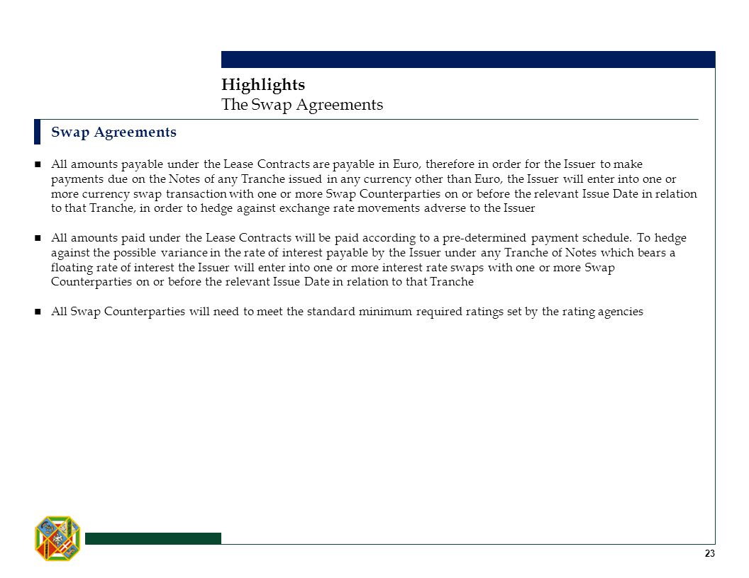 Highlights The Swap Agreements Swap Agreements