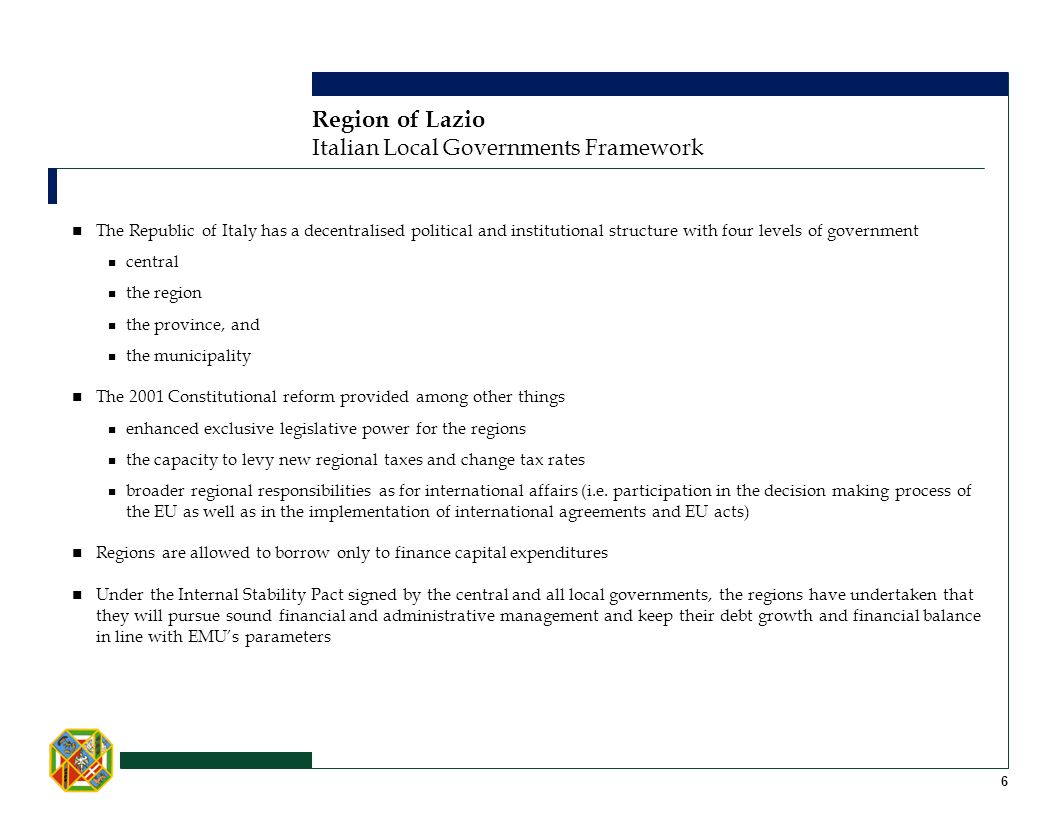 Region of Lazio Italian Local Governments Framework