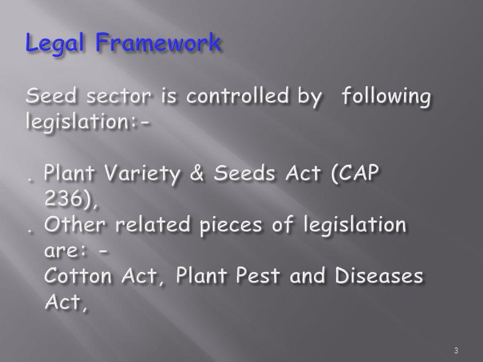 Legal Framework Seed sector is controlled by following legislation:-
