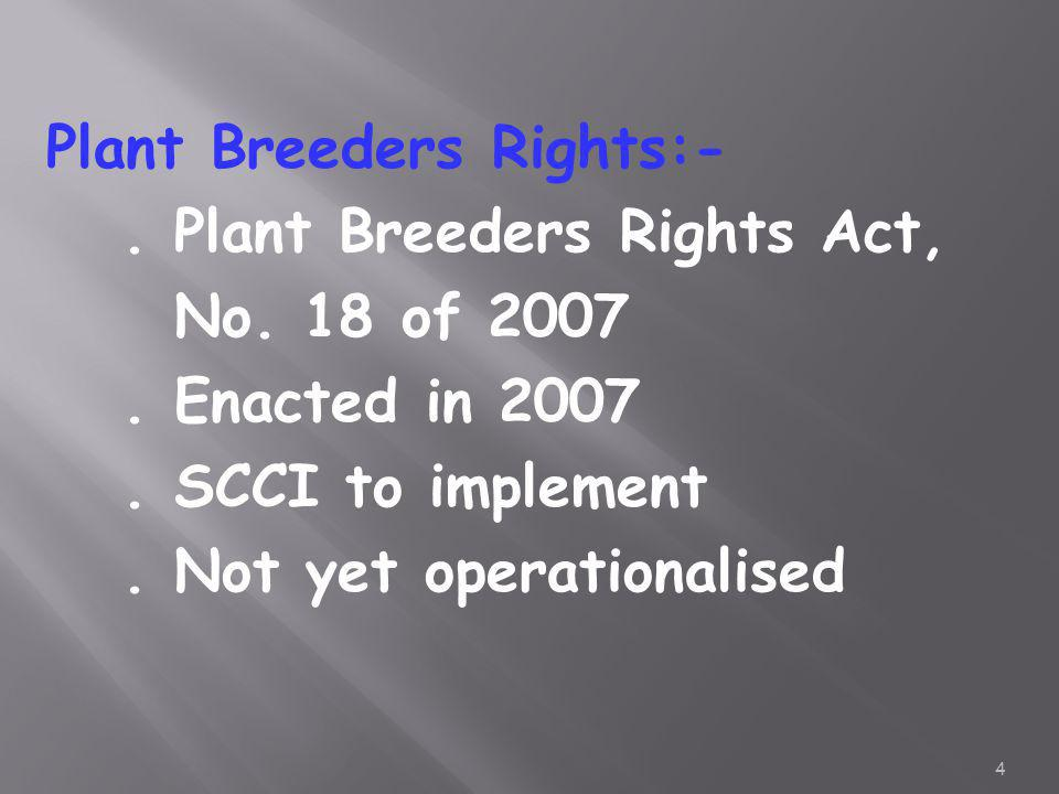 Plant Breeders Rights:-