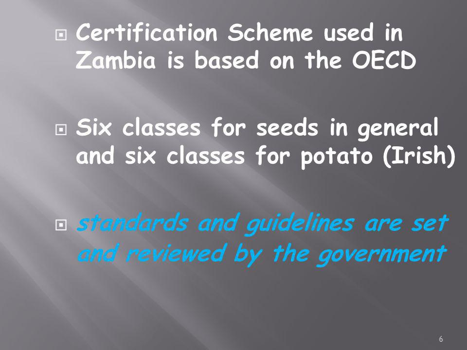 Certification Scheme used in Zambia is based on the OECD