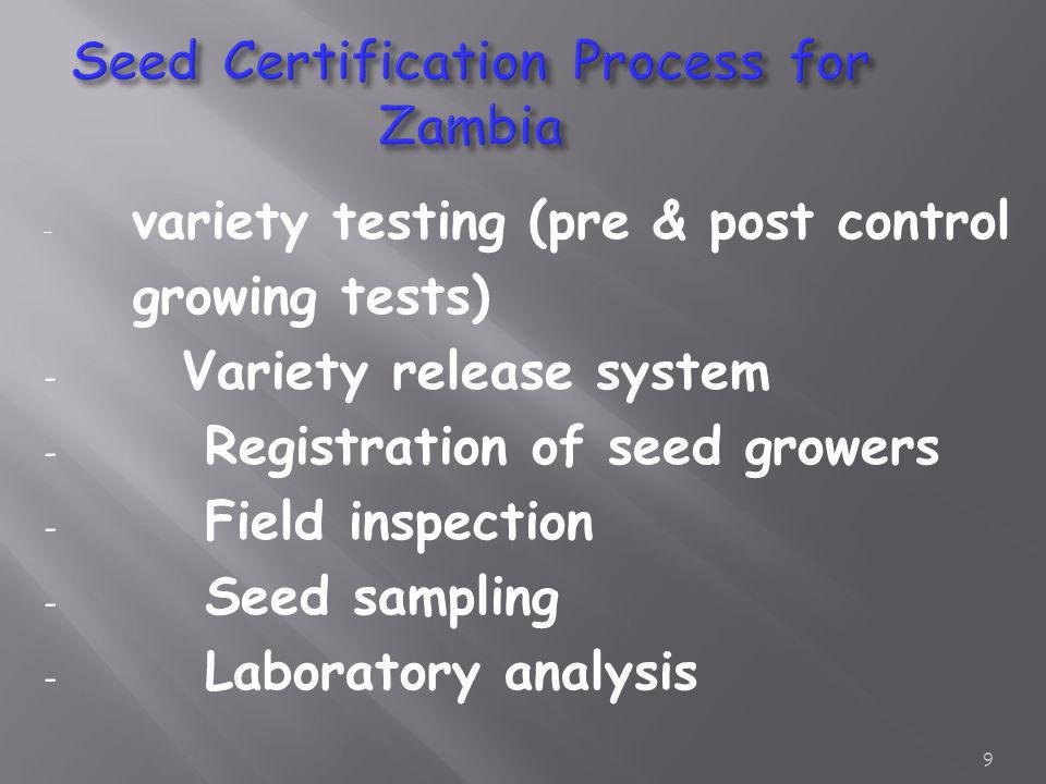 Seed Certification Process for Zambia