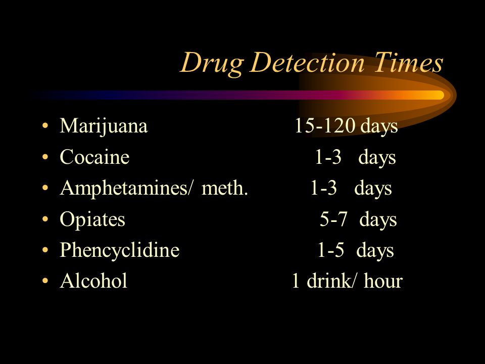 Drug Detection Times Marijuana 15-120 days Cocaine 1-3 days