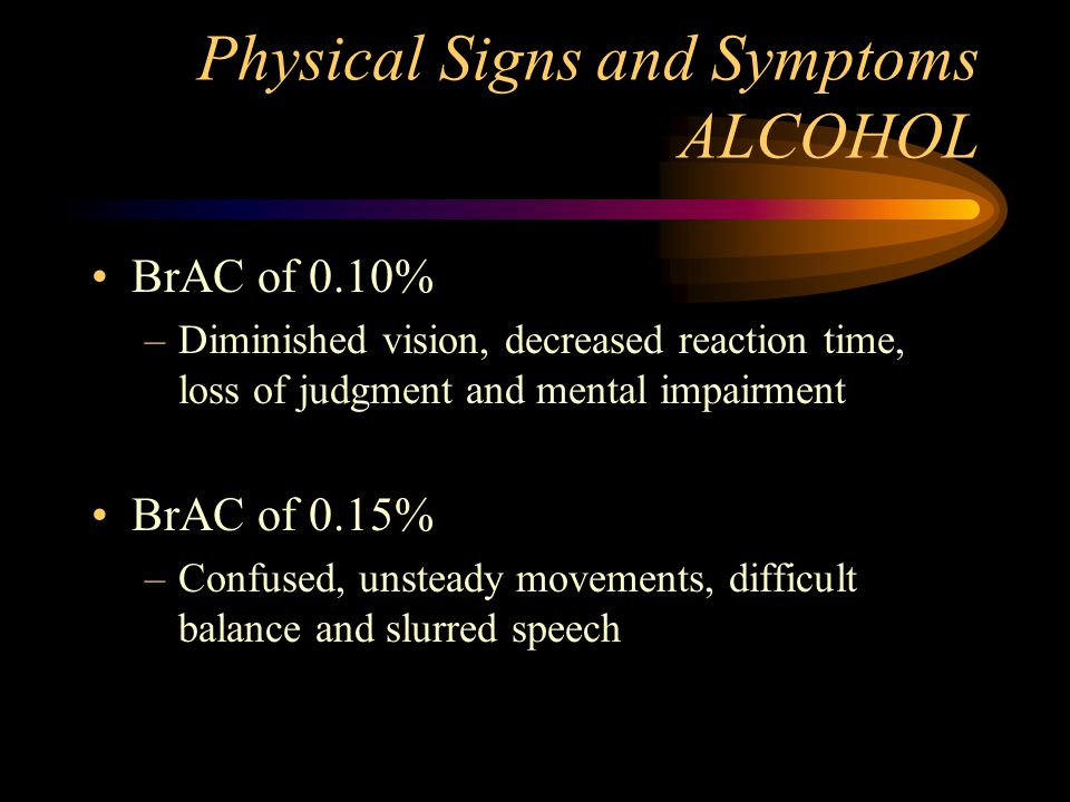 Physical Signs and Symptoms ALCOHOL