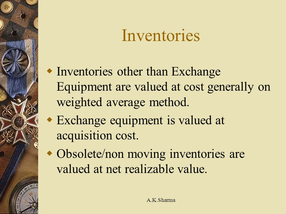 Inventories Inventories other than Exchange Equipment are valued at cost generally on weighted average method.