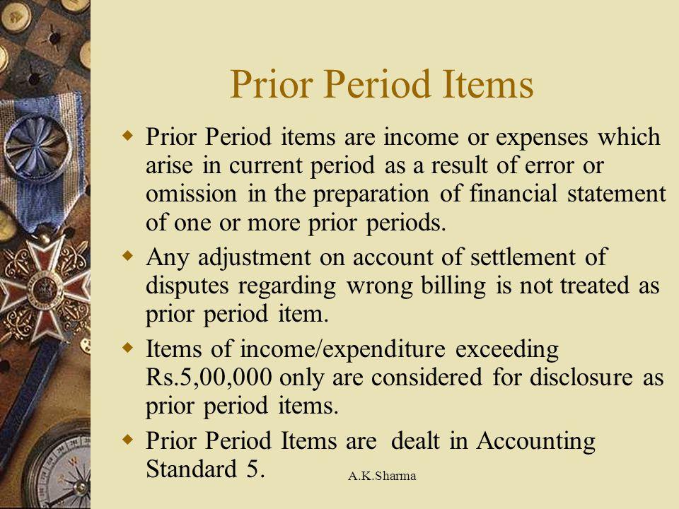 Prior Period Items