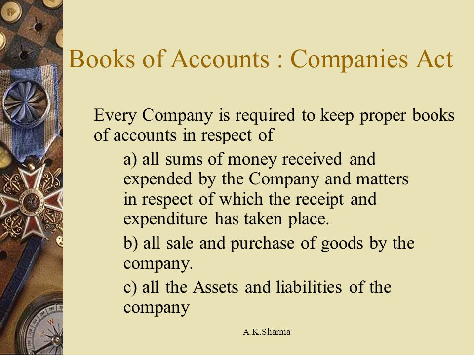 Books of Accounts : Companies Act