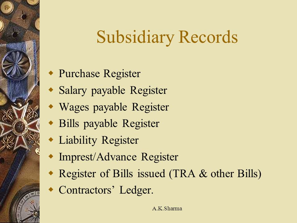 Subsidiary Records Purchase Register Salary payable Register