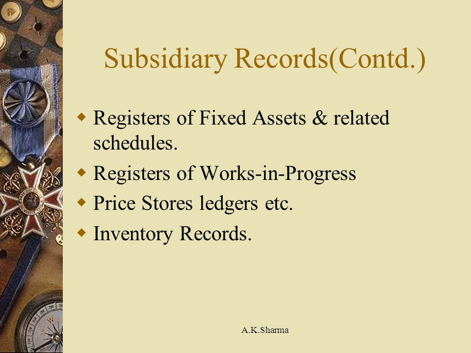 Subsidiary Records(Contd.)