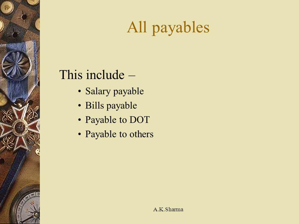 All payables This include – Salary payable Bills payable
