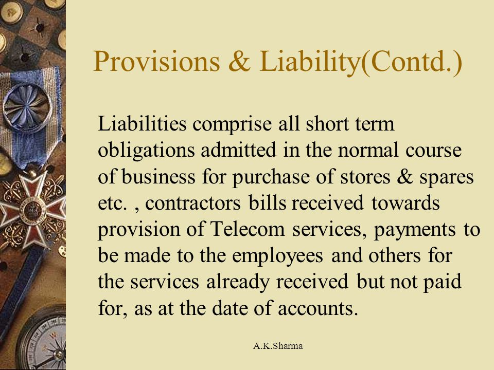Provisions & Liability(Contd.)