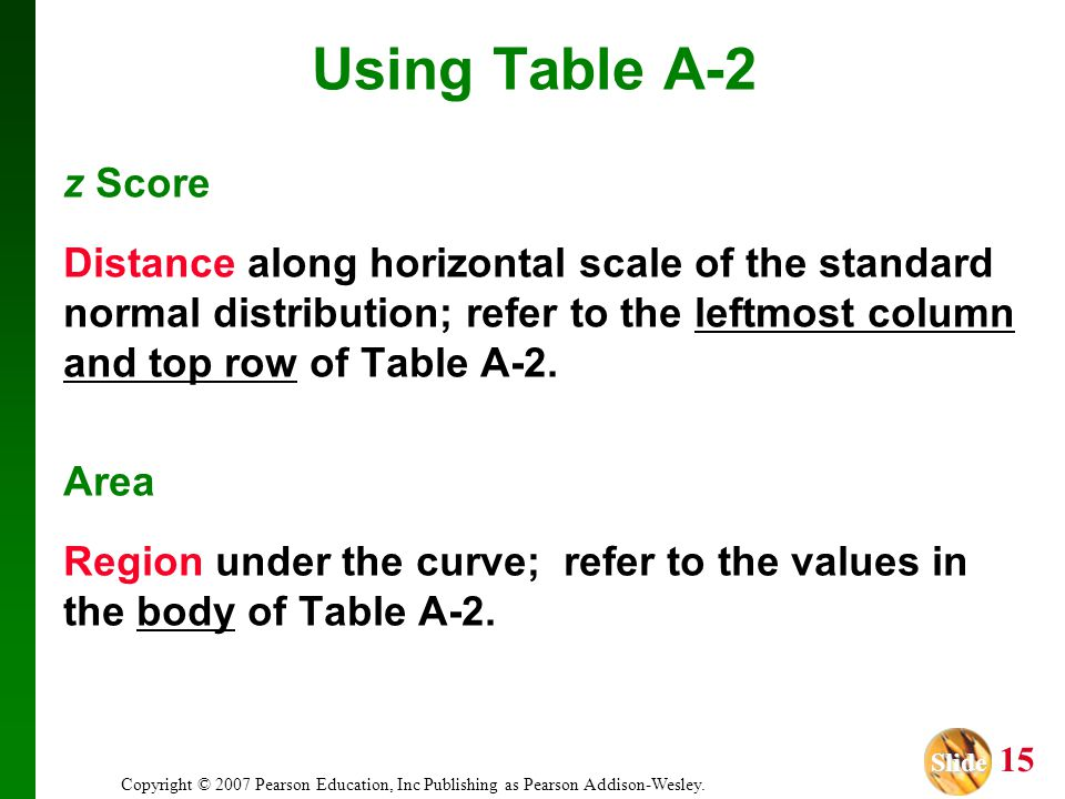 Using Table A-2 z Score. Distance along horizontal scale of the standard normal distribution; refer to the leftmost column and top row of Table A-2.