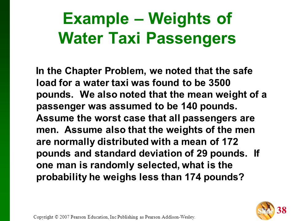 Example – Weights of Water Taxi Passengers