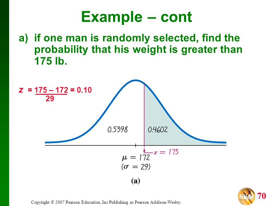 Example – cont a) if one man is randomly selected, find the probability that his weight is greater than 175 lb.