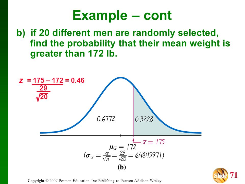 Example – cont b) if 20 different men are randomly selected, find the probability that their mean weight is greater than 172 lb.