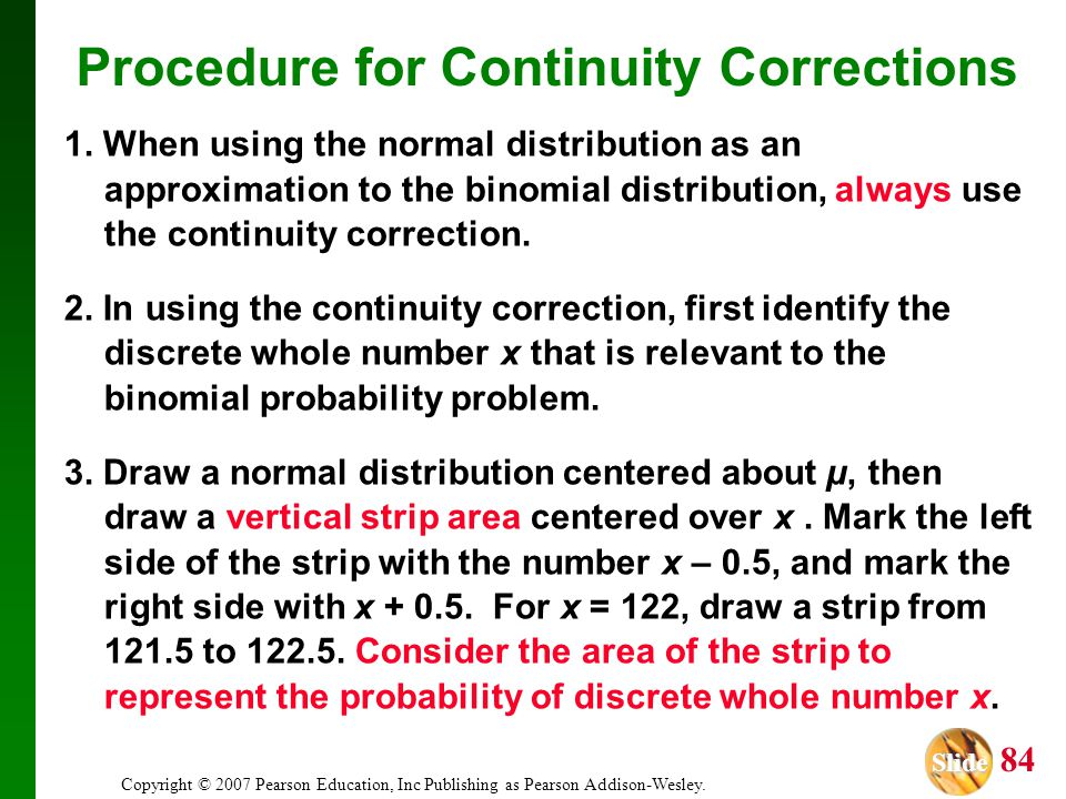 Procedure for Continuity Corrections