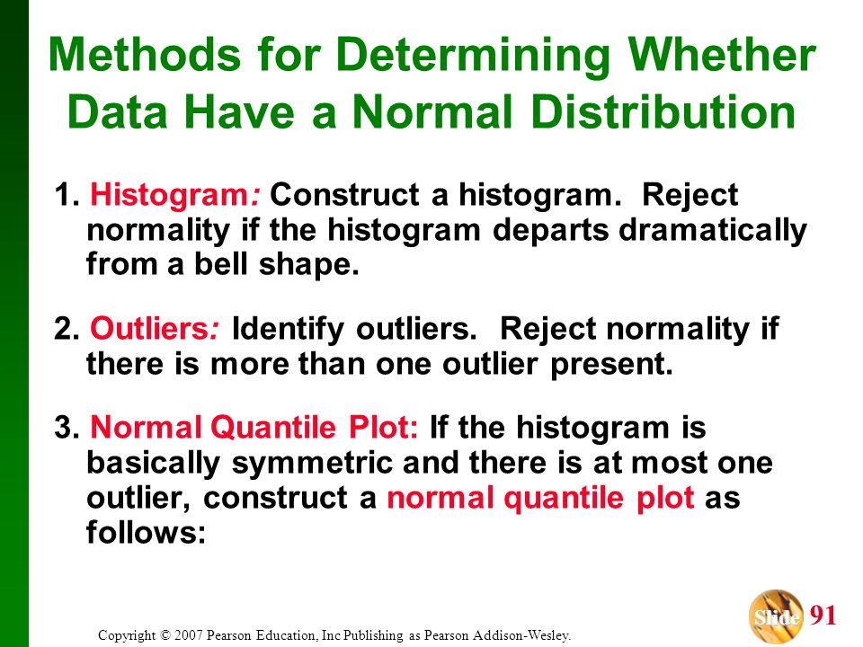 Methods for Determining Whether Data Have a Normal Distribution
