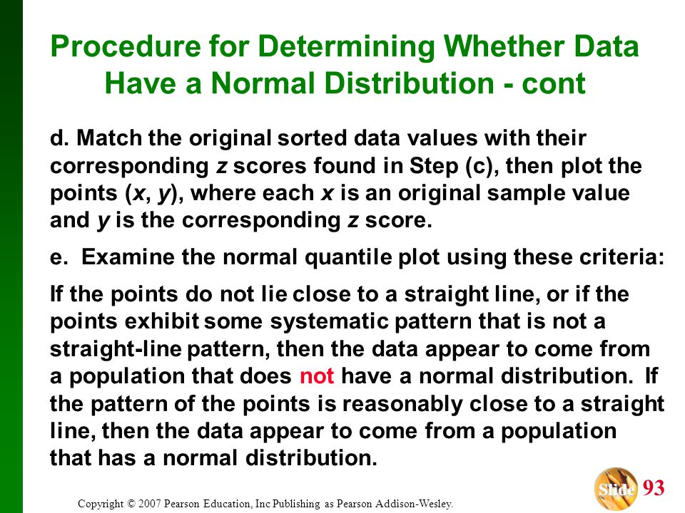Procedure for Determining Whether Data Have a Normal Distribution - cont