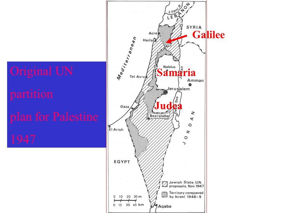 Galilee Original UN partition plan for Palestine 1947 Samaria Judea