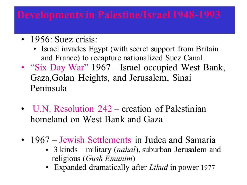 Developments in Palestine/Israel 1948-1993
