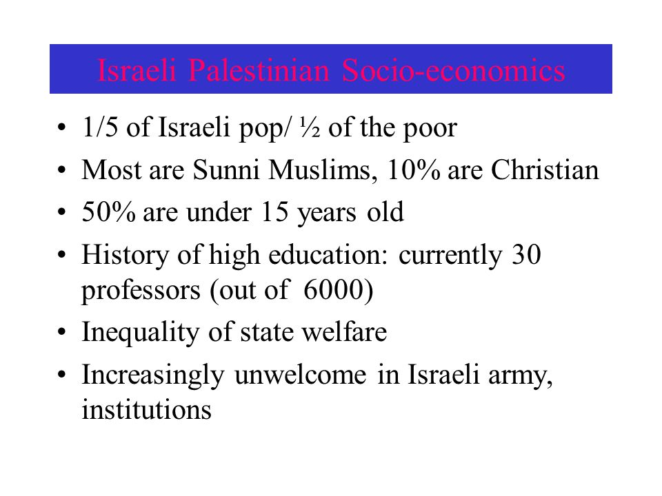 Israeli Palestinian Socio-economics