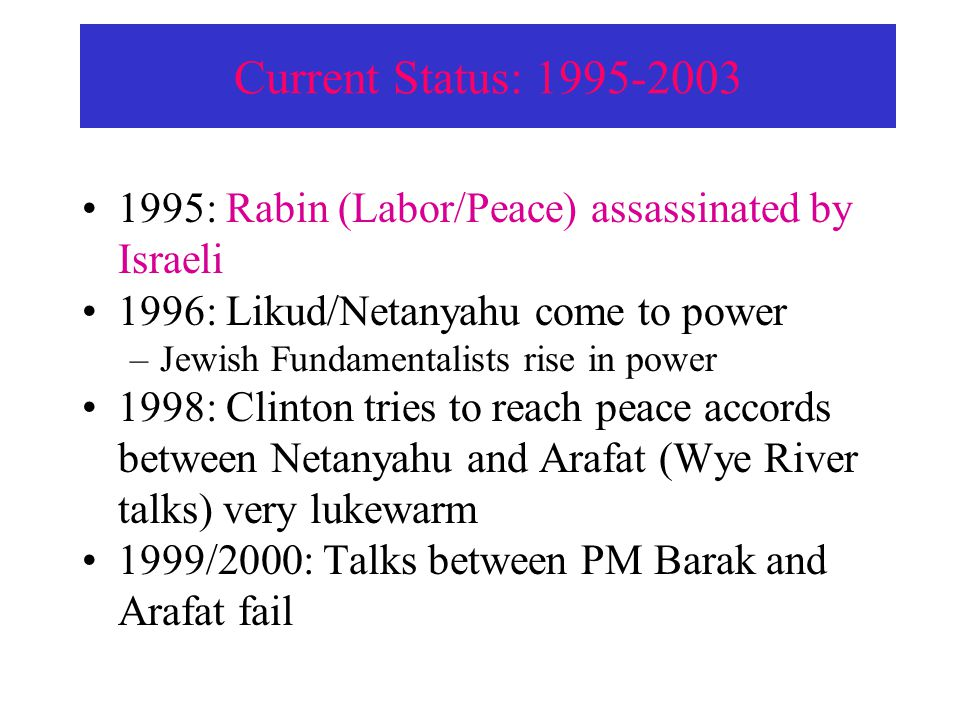 Current Status: 1995-2003 1995: Rabin (Labor/Peace) assassinated by Israeli. 1996: Likud/Netanyahu come to power.