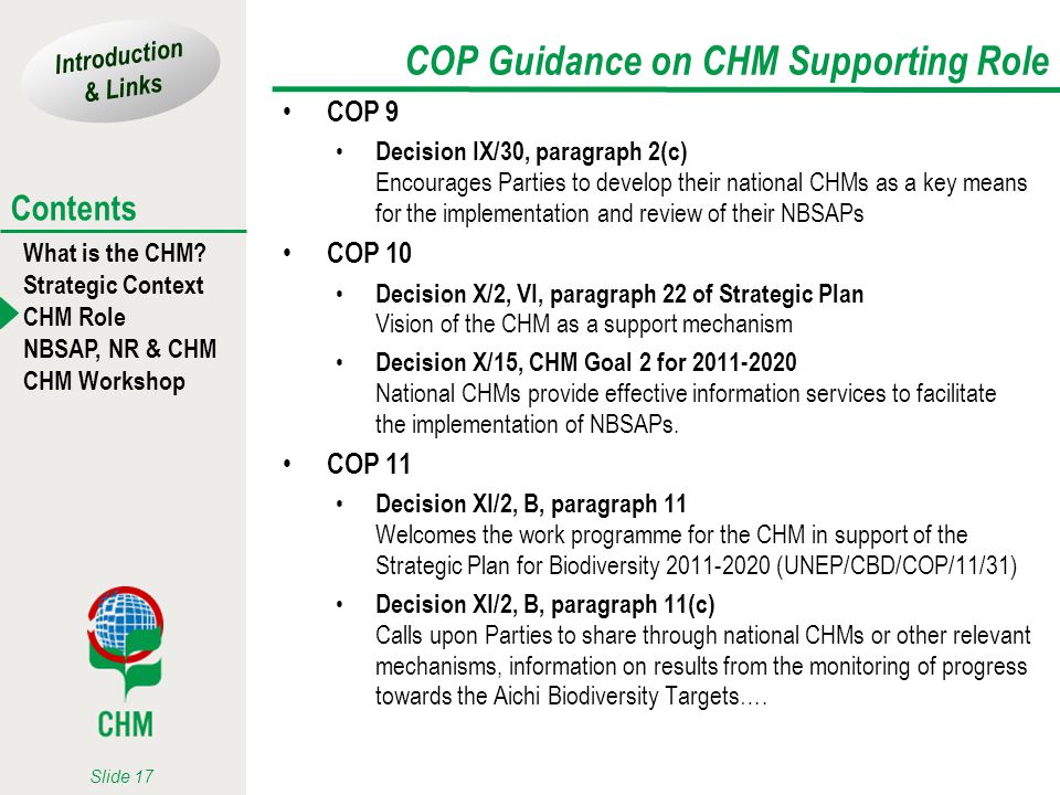 COP Guidance on CHM Supporting Role