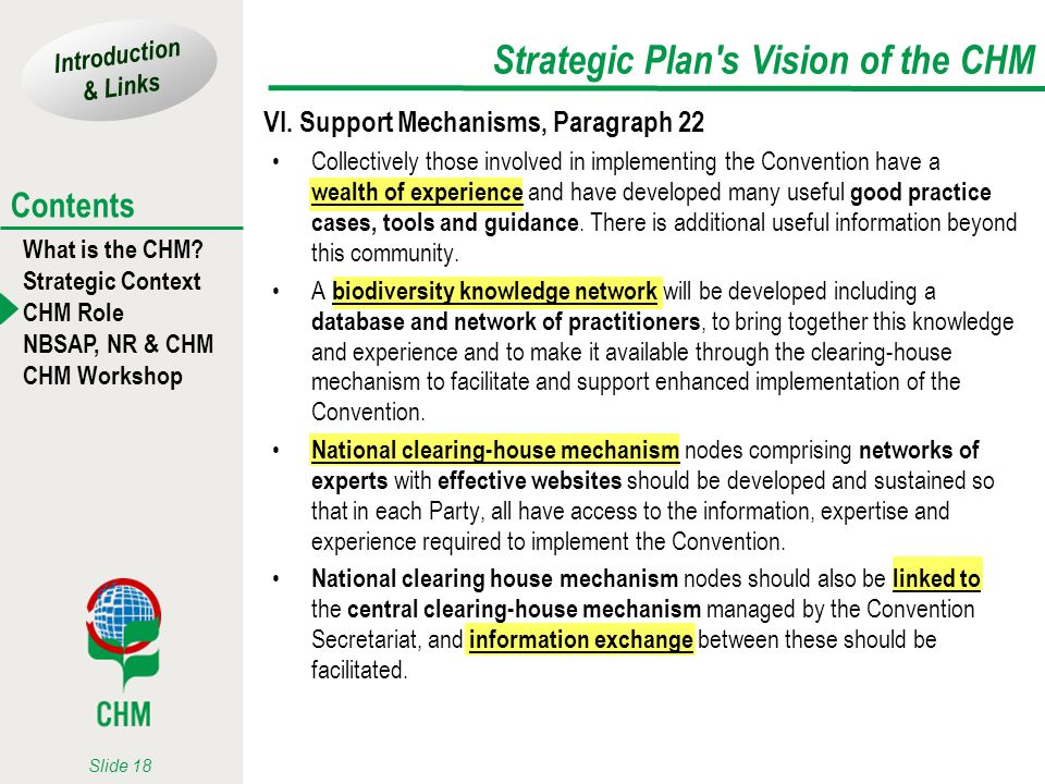 Strategic Plan s Vision of the CHM
