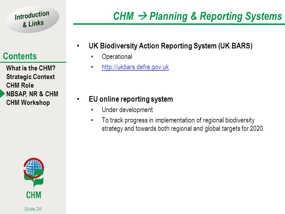 CHM  Planning & Reporting Systems