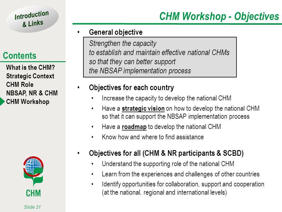 CHM Workshop - Objectives