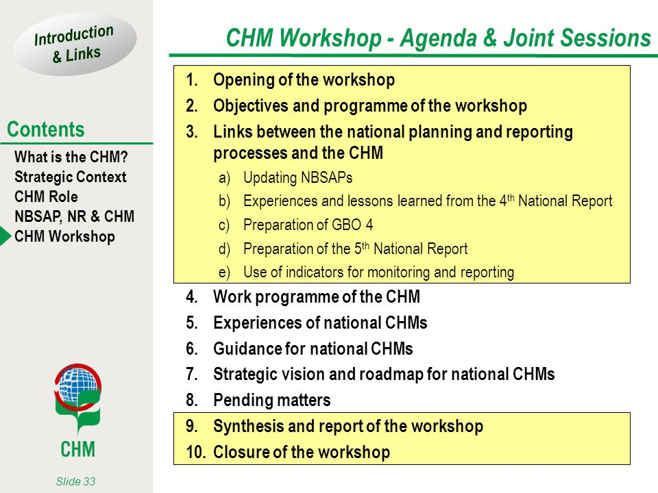 CHM Workshop - Agenda & Joint Sessions