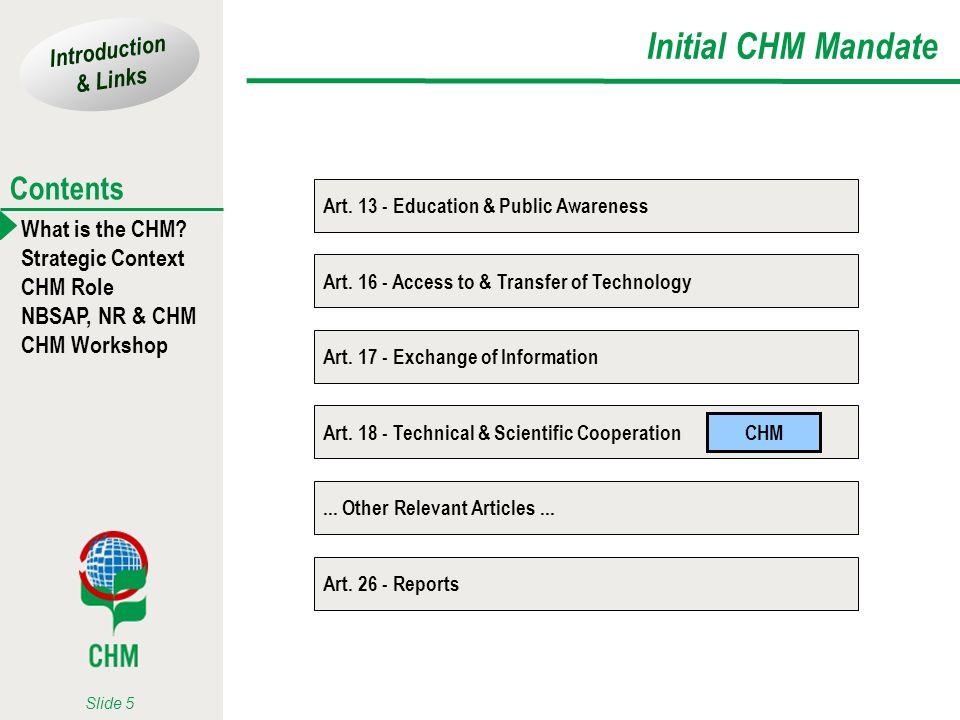 Initial CHM Mandate Art. 13 - Education & Public Awareness