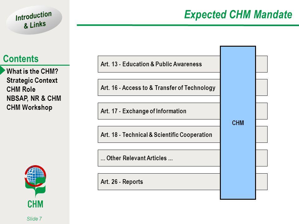 Expected CHM Mandate Art. 13 - Education & Public Awareness