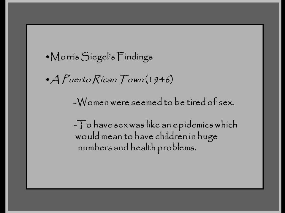 Morris Siegel's Findings