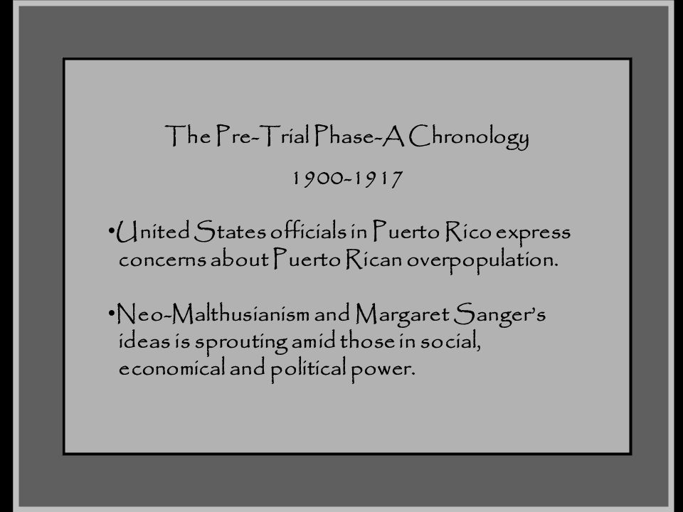 The Pre-Trial Phase-A Chronology