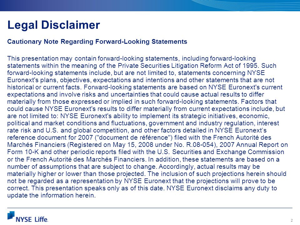 Legal Disclaimer Cautionary Note Regarding Forward-Looking Statements