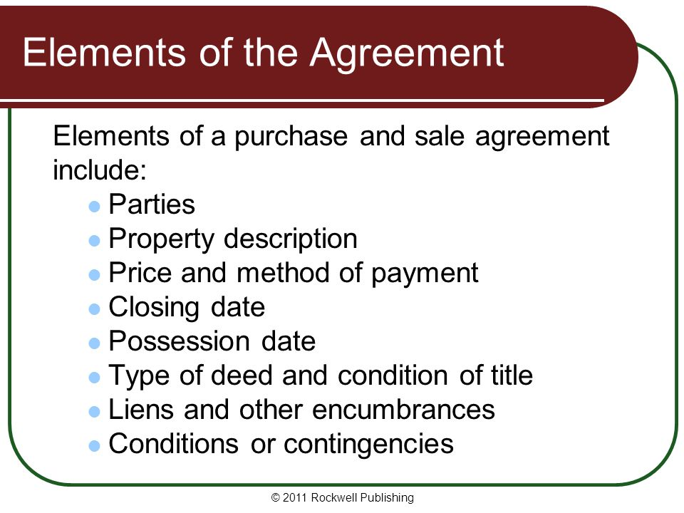 Elements of the Agreement