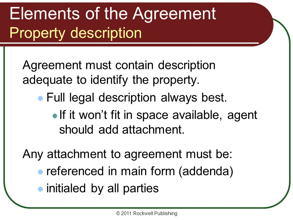 Elements of the Agreement Property description