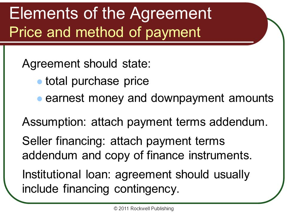 Elements of the Agreement Price and method of payment