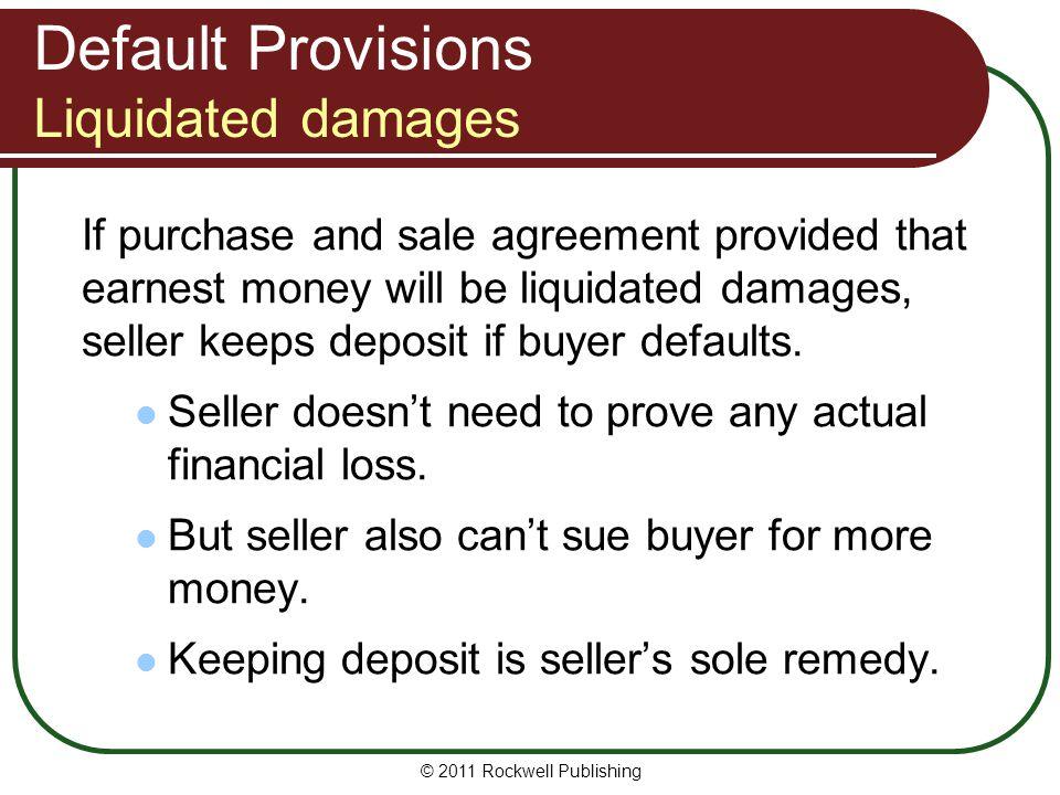 Default Provisions Liquidated damages